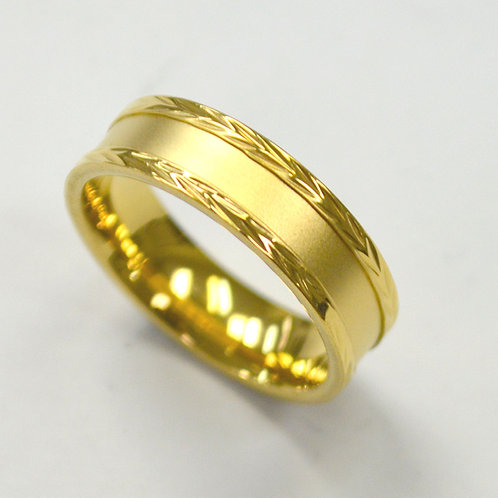 Matte Finished Center Gold IP Plated Ring (6mm)81-1340G