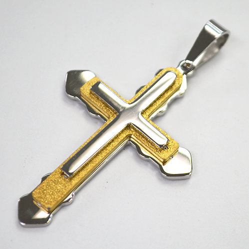 Glitter Cross Gold IP Plated Pendant 86-2273-2T