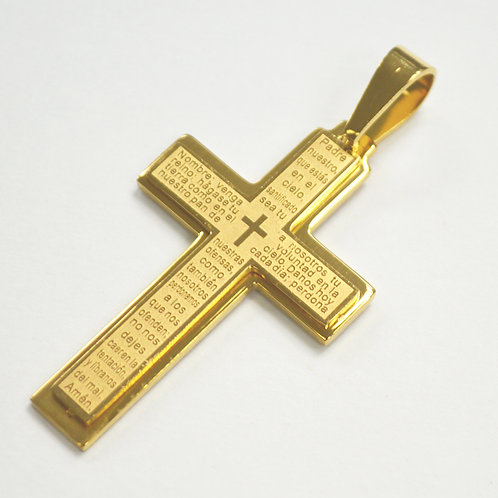 Cross Gold IP Plated with Inscription Pendant 86-2241G