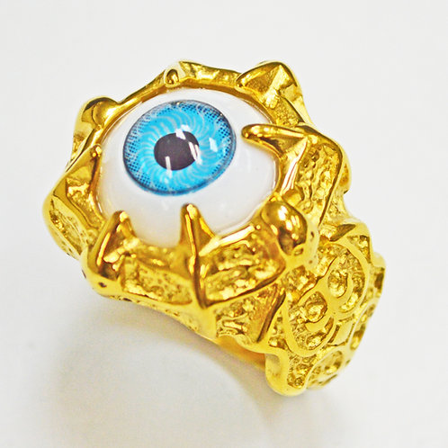 EYEBALL GOLD IP PLATE RING (25mm) 81-1223G