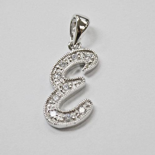 Initials CZ Stone Pendant Sterling Silver 562235-E