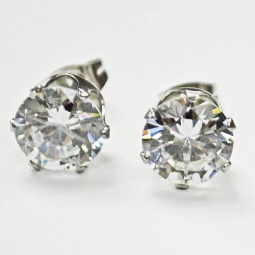 9mm Round CZ Earrings-10 Pairs