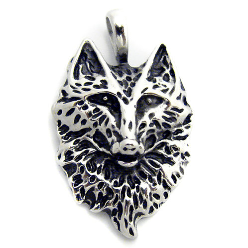 Wolf Face Pendant Stainless Steel (24x34mm)