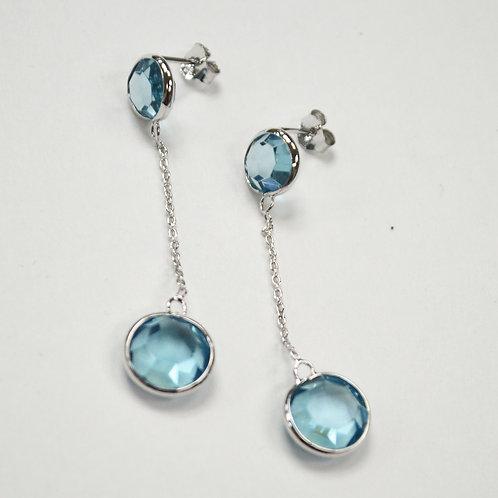 Crystal Stones Sterling Silver Earrings 534031-1