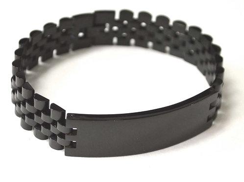 Designer Inspired ID Black Plated Bracelet 84-1783B-16
