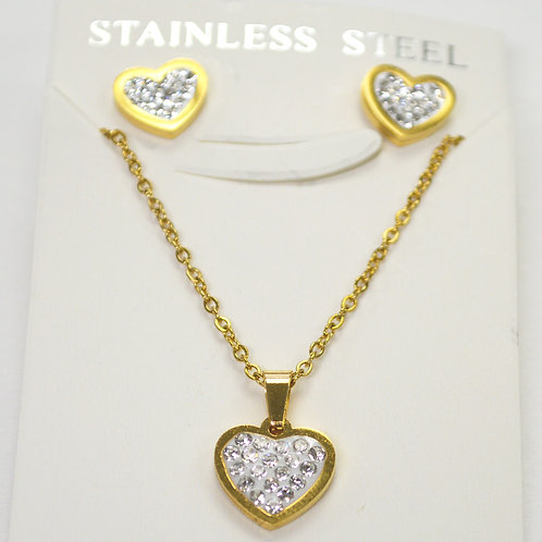 Heart Earrings and Necklace SET Gold IP Plated 89-1022