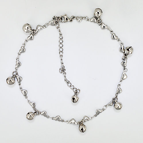 Dangling Bells with Heart Link Anklet 82-158