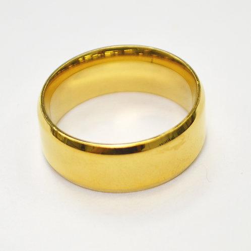 Gold Plated Shiny Finish Bevel Ring (8mm) 81-1353G-8