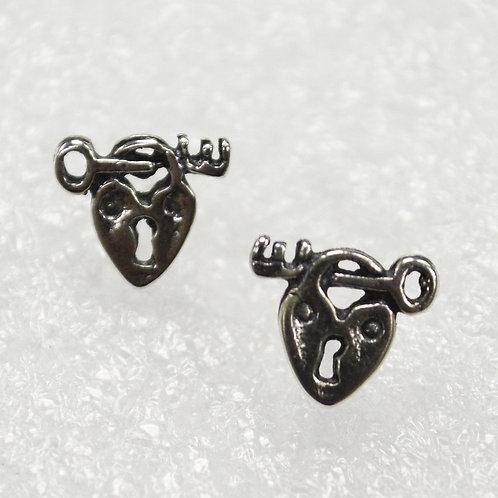 Heart Key Stud Earring Sterling Silver 535226