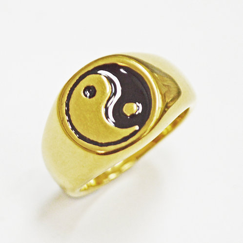 YING & YANG GOLD PLATE RING (13mm) 81-1235G