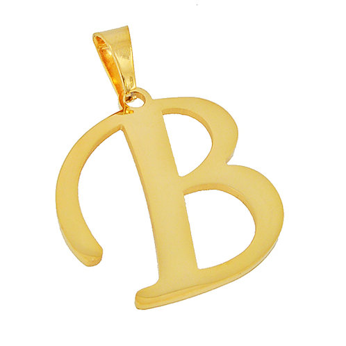B Initial Pendant Gold IP Plated Stainless Steel