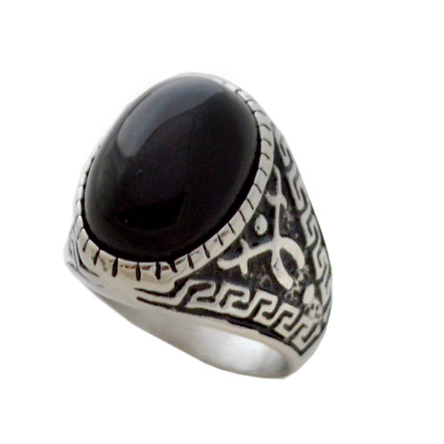 Black Onyx Ring Stainless Steel (11x31mm) 81-1185S-Blk