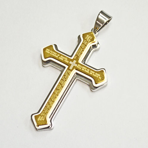 """2 Tone Gold Plated Cross with """"The Lord's Prayer"""" Pendant 86-2217G"""