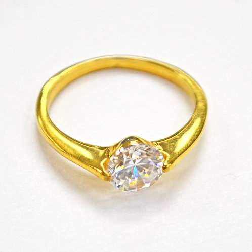 CZ GOLD IP PLATE RING 81-1144G-6