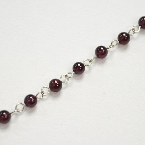 Garnet Bead Bracelet Sterling Silver 551012-1