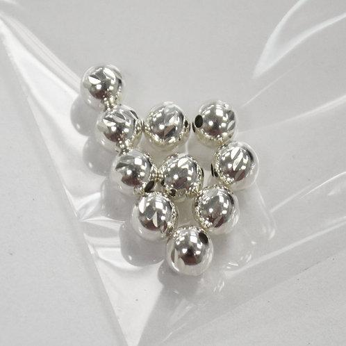 6mm Bead  Seamless Diamond Cut Sterling Silver (10 pcs)