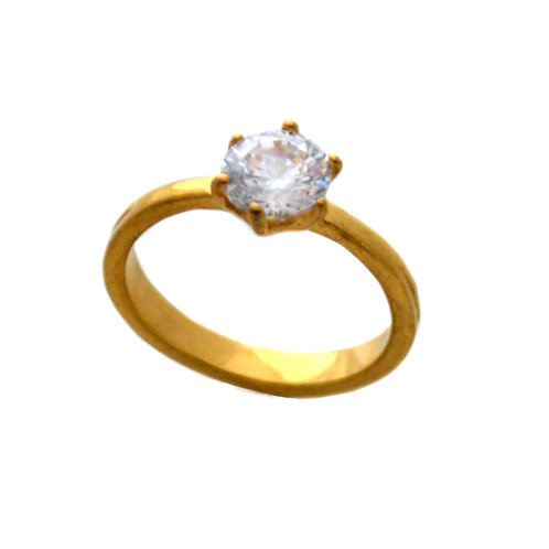 CZ GOLD IP PLATE RING (7mm) 81-1028G-7
