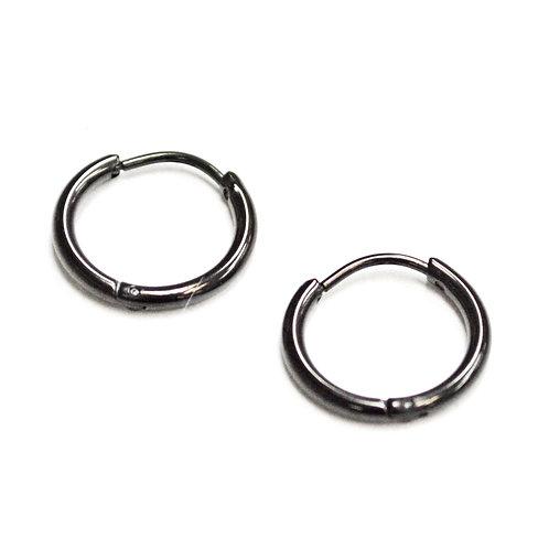 BLACK HOOP  EARRINGS (13mm)