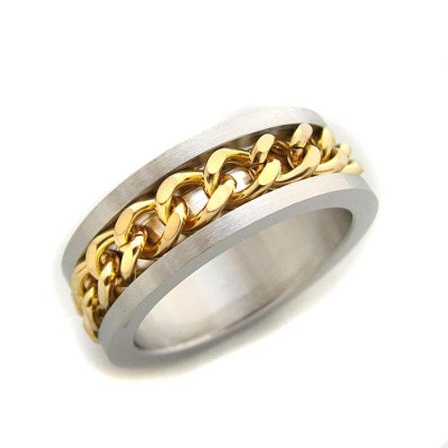 2 Tone Gold Stainless Steel Spinner Ring (8mm) 81-371G