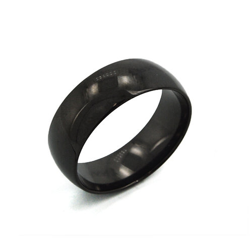 Black Plated Plain Band Ring (5mm) 81-214-5
