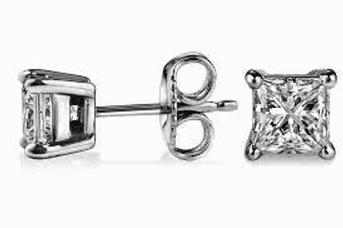 Square CZ Stud Casting Earrings
