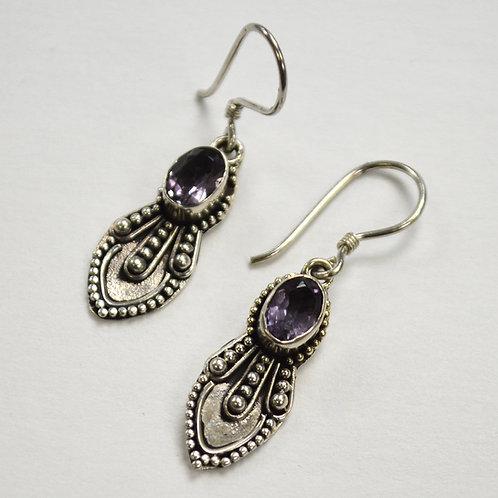 Amethyst Stone Dangling Earring Sterling Silver 534076