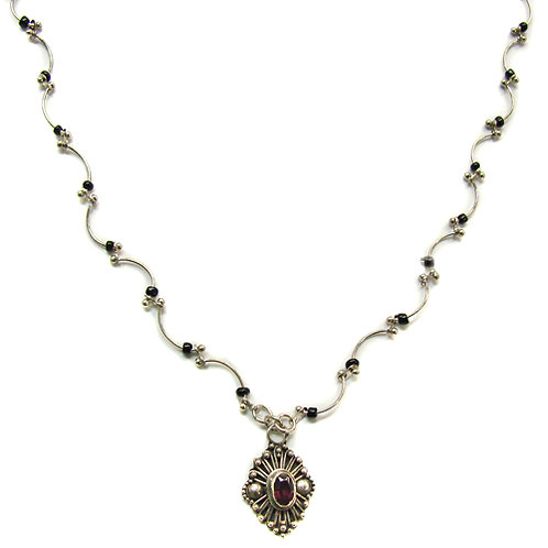 Garnet Stone Pendant with Black Bead Necklace Sterling Silver 551013