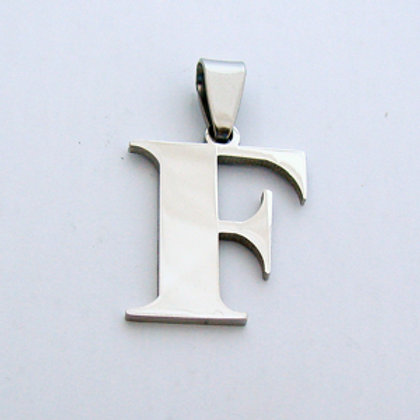 F Initial Pendant Stainless Steel (18x22mm)