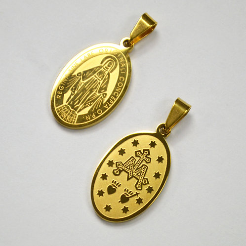Virgen Milagrosa Medalla Gold Plated Pendant 86-540G