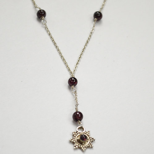 Garnet Beads Necklace Sterling Silver 551018