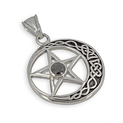 CRESCENT STAR with  Red Stone Pendant