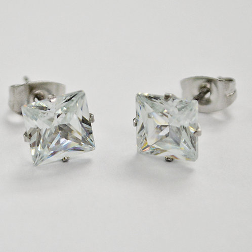 7mm Square CZ Earrings-10 Pairs