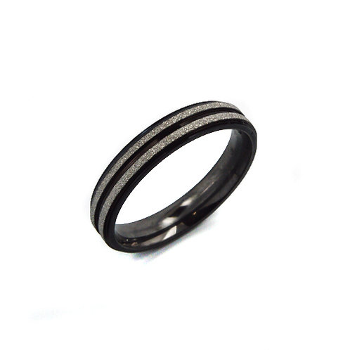 DOUBLE ROW SAND FINISH BLACK RING (4mm) 81-776