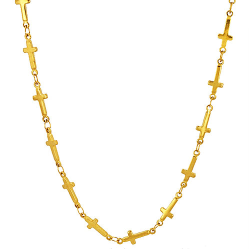 Cross Gold IP Plated Necklace