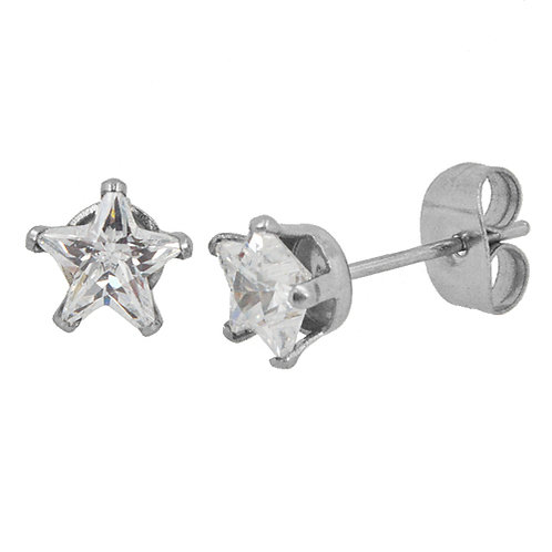 5x5 Star CZ Earrings