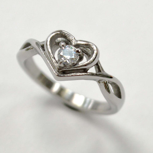 CZ Heart Stone Stainless Steel Ring 81-1442