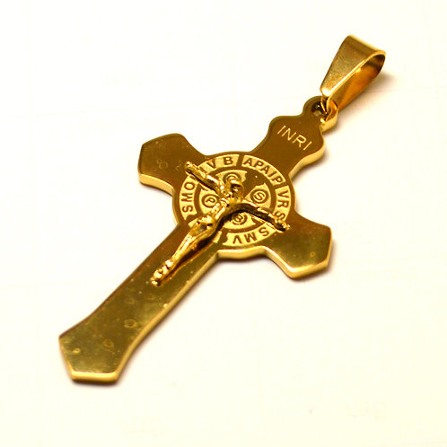 Gold Plated San Benito Cross Pendant 86-953G-Sm