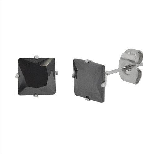 6mm Square Black CZ Stud Earring