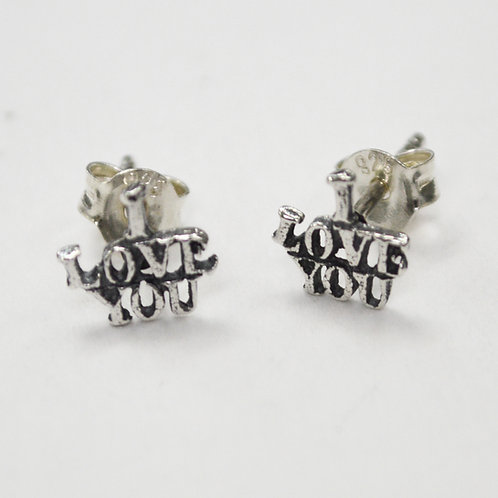 """I LOVE YOU"" Stud Sterling Silver Earring 535266"