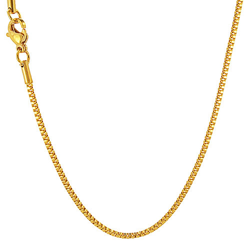 1.5m Box Gold IP Plate Chain