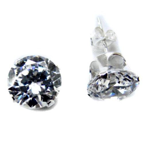 8 m.  Round CZ Stud Earrings