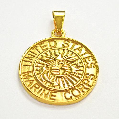 US Marine Medallion Pendant Gold IP Plate 86-869G