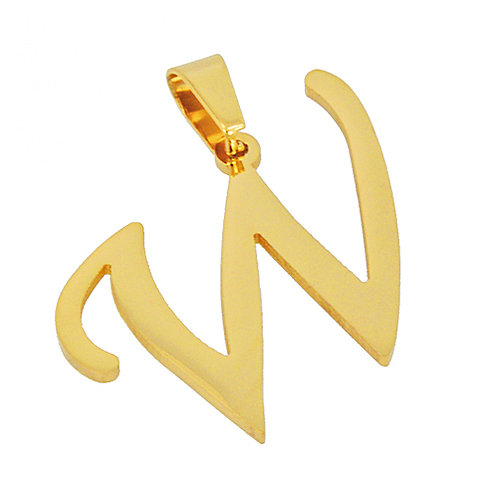 W Initial Pendant Gold IP Plated Stainless Steel