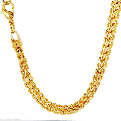 4m Franco Gold IP Plate Chain