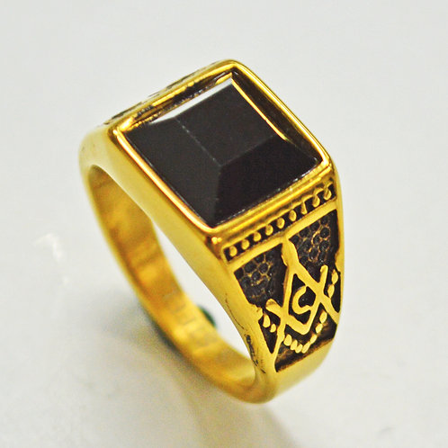 BLACK STONE GOLD PLATED RING (13mm) 81-1330G-Blk
