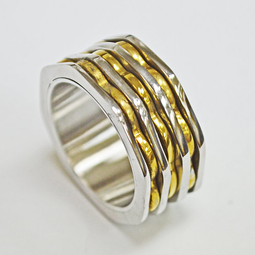 3 Line Gold Stainless Steel Ring (10mm) 81-1287