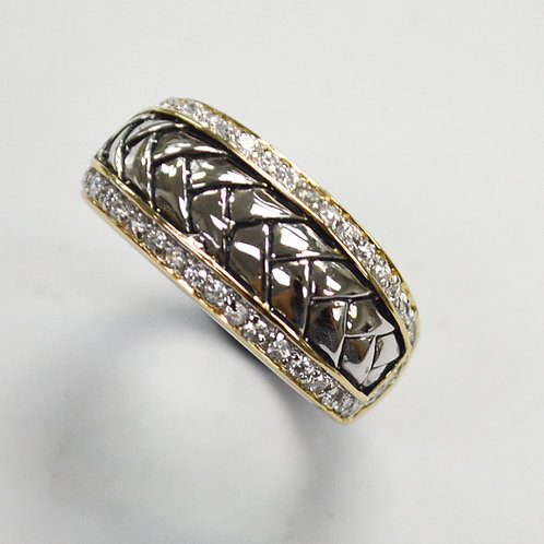 Sterling Silver 2 Tone CZ Ring  512031