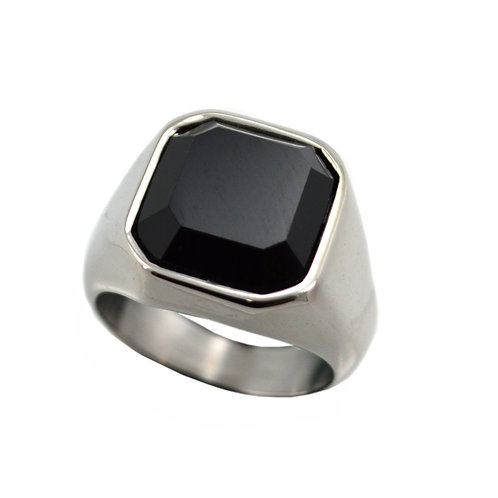 Black Stone Stainless Steel Ring 81-1158S