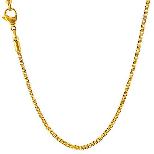 2m Box Gold IP Plate Chain