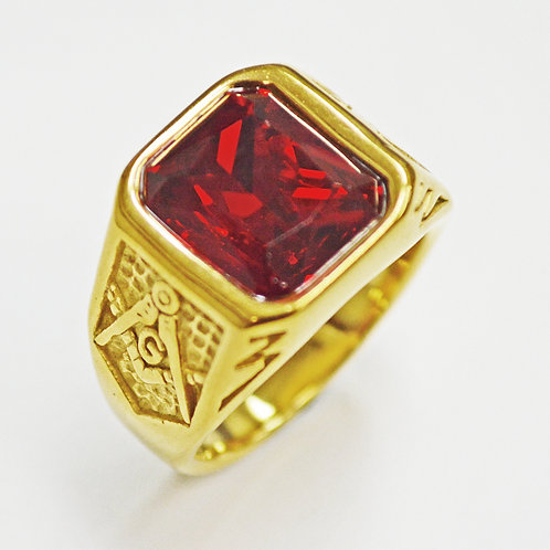 RED STONE GOLD RING (14x14mm) 81-1236G-RED